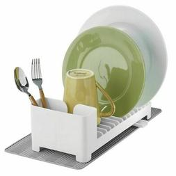 mDesign Compact Dish Drying Rack with Swivel Spout & Silicon