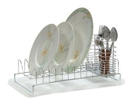 Compact Dish Rack W/flatware Holder & Plastic Tray. #66-611