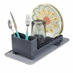 mDesign Compact Kitchen Countertop, Sink Dish Drying Rack wi