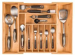 More Compartments, Organic Bamboo Utensil Organizer, Silverw