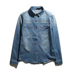 Bikifree NEW Cotton Long Sleeve Casual Shirt Slim Denim Shir