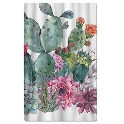 FSKDOM Cotton Plush Natural Vintage Watercolor Cactus In Boh