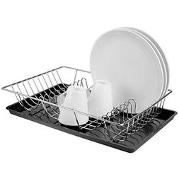 MyGift Countertop Chrome-Plated Dish-Drying Rack with Drainb