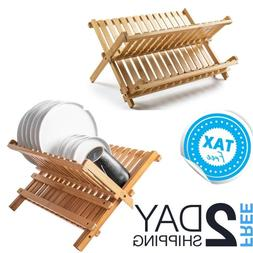 Countertop Dish Drying Rack Small Compact Wooden Kitchen For