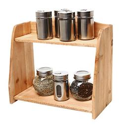 Country Farm Style 2 Tier Wooden Spice Rack / Free Standing