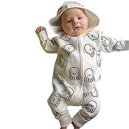 Hatoys Cute Baby Girl Boy Cartoon Octopus Print Long Sleeve