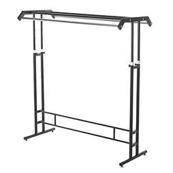 Deluxe Black Metal Double Rod Height Adjustable Clothing Dis