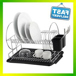Deluxe Chrome-plated Steel 2-Tier Dish Rack with Drainboard/