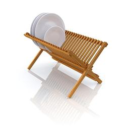 Deluxe Organic Bamboo Folding Dish Rack   2-Tier Collapsible