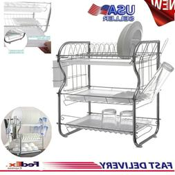 Dish Cup Drying Rack Holder Sink Drainer 3-Tier Dryer Stainl