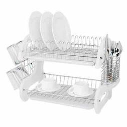 Home Basics NEW Dish Drainer, 2-Tier Plastic White - FREE SH