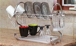 Sweet Home Collection Dish Drainer Drying Rack 2 Tier Basic