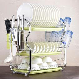Dish Drainer Drying Rack 3 Tier Stainless Steel Kitchen Cutl