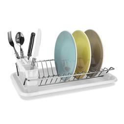 Dish Drainer Drying Rack Home Basics Clear Compact Steel