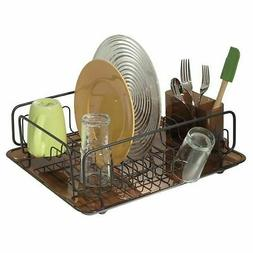 mDesign Dish Drainer Drying Rack, Cutlery Caddy & Drainboard