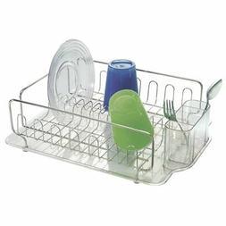 mDesign Dish Drainer Drying Rack, Cutlery Caddy & Drainboard