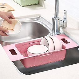 Nacome Dish Drainer Rack Plastic Dish Basket Adjustable Over