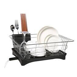 Dish Drainer Stainless Steel Drying Rack with 3-Piece Set an
