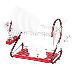 Dish Drying Rack - SODIAL Stainless Steel 2 Tiers Kitchen Di