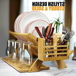 Dish Drying Rack 2 Tier Collapsible Wood Bamboo Kitchen Eart