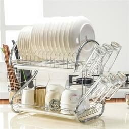 Dish Drying Rack 2 Tier Dish Rack Drainer Holder Kitchen Sto