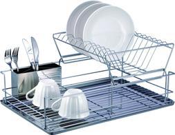 Dish Drying Rack, 2 Tier Dish Rack Cup Drying Rack and Drain