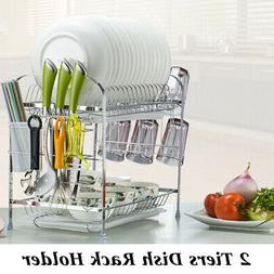 Dish Drying Rack 2 Tier Kitchen Holder Basket Storage Plated