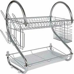 Dish Drying rack 2 Tier with Drain Board Utensil Holder Silv