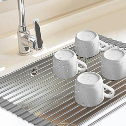 Dish Drying Rack, AYCLIF Over the Sink Foldable Dish Rack wi