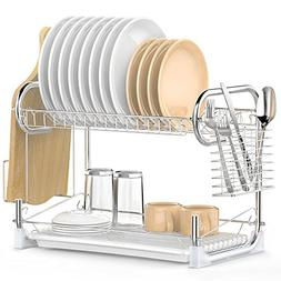 Dish Drying Rack, iSPECLE 2-Tier Dish Rack with Utensil Hold