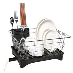 Dish Drying Rack with Stainless Steel Black Drain Board Drai
