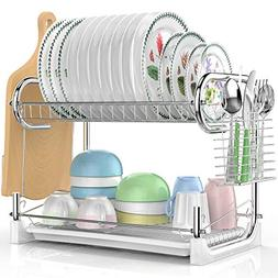 Dish Drying Rack, Veckle 2 Tier Dish Drainer Easy Install No