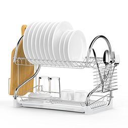 Dish Drying Rack, Ace Teah 2 Tier Dish Rack and Drain Board
