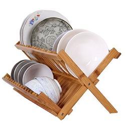 Dish Drying Rack Bamboo Dish Rack Collapsible Dish Drainer,
