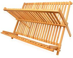 Dish Drying Rack Bamboo Dish Rack Collapsible Dish Drainer,