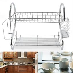 2-Tier Multi-function Stainless Steel Dish Drying Rack, Cup