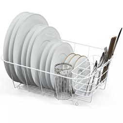 Dish Drying Rack Drainer Basket w/Utensil Caddy, White