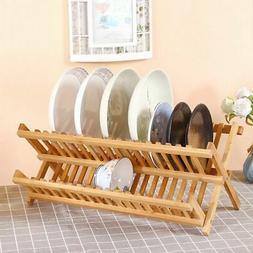 Dish Drying Rack Drainer Holder Storage 2 Tier Organizer Fol