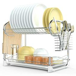 Dish Drying Rack, F-color Upgraded 2 Tier Dish Drainer Easy