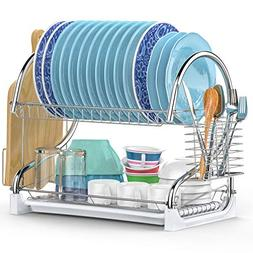 Dish Drying Rack, iSPECLE Upgrade 2 Tier Dish Rack with Uten