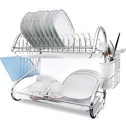 Brankeys Dish Drying Rack - 2 Tier Metal Drying Rack With Ut