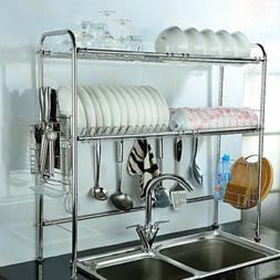Dish Drying Rack Over Sink 2 Tier Adjustable Display Stand U