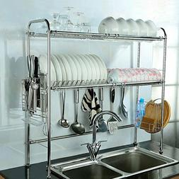 Dish Drying Rack Over Sink 2 Tier Adjustable Non Slip Hooks
