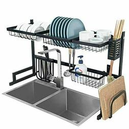 2-Tier Stainless Steel Dish Drying Rack Over Sink Display wi