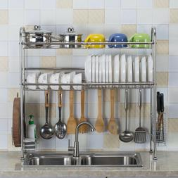 Dish Drying Rack Over Sink Drainer Shelf Kitchen Cutlery Hol