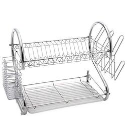 Glotoch Dish Drying Rack, 2 Tier Dish Rack with Utensil Hold