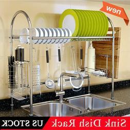 Dish Drying Rack Stainless Steel Dish Storage W/Chopsticks &
