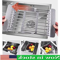 Dish Drying Rack Stainless Steel Telescopic Filter Basket Ki
