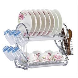 WORTOOL Dish Drying Rack 2 Tier Dish Rack and Drain Board, 2