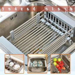 Dish Drying Rack Telescopic Filter Basket Kitchen Sink Stain